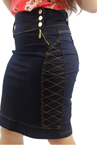 kit com 2 saias jeans evangélicas cores diferentes + frete