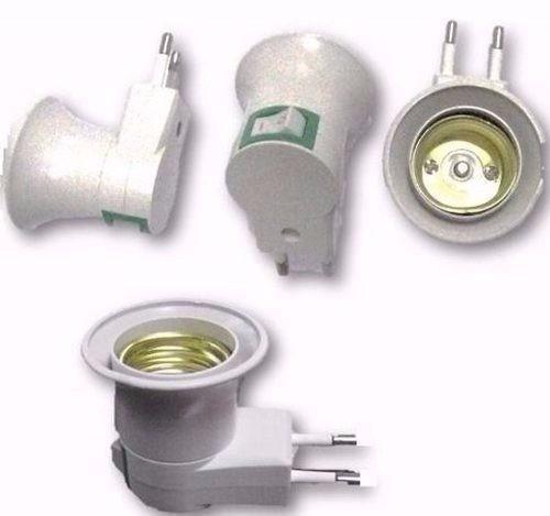 kit com 2 soquetes e-27 tomada abajur botão liga desliga luz