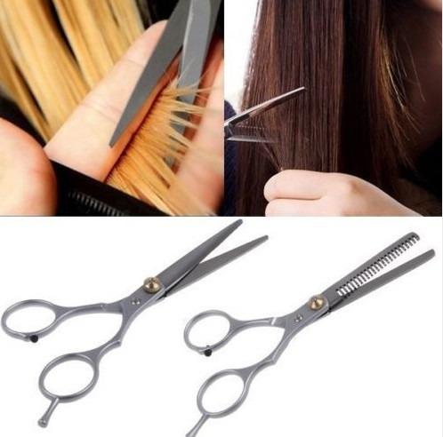 kit com 2 tesoura profissional corte cabelo cabeleireiros