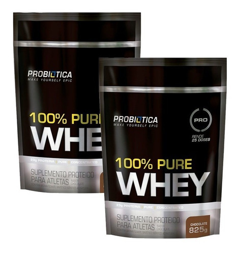 kit com 2 uni 100% pure whey 825g refil - probiotica