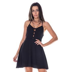 bd94d70dc Vestido Curto Decotado Em Malha - Vestidos Curtos Femininas Preto em ...