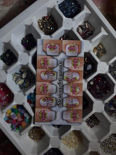 kit com 20 cartela de adesivos de unhas artesanal 100 % base