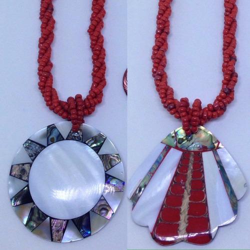 kit com 20 colares de miçanga com resina abalone