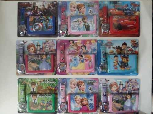 kit com 20 relogios e carteiras tema infantil heroi princesa