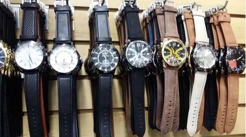 kit com 20 relógios masculino pulseira de couro atacado top
