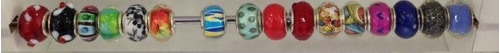kit com 25 berloques coloridos para pulseira pandora