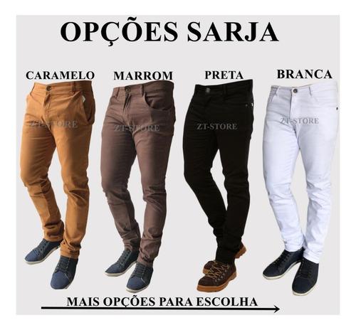 kit com 3 calça jeans sarja masculina skinny slim com lycras