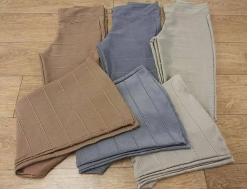 kit com 3 calças flare bandagem grossa plus size veste 46-56