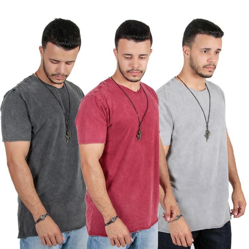 Kit Com 3 Camisas Camisetas Masculina Malha Lavada Estonadas - R  65 ... 2c0fba597fb