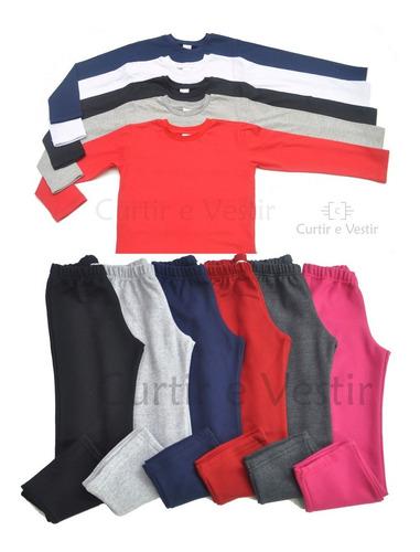 kit com 3 camiseta 3 calça moletom infantil
