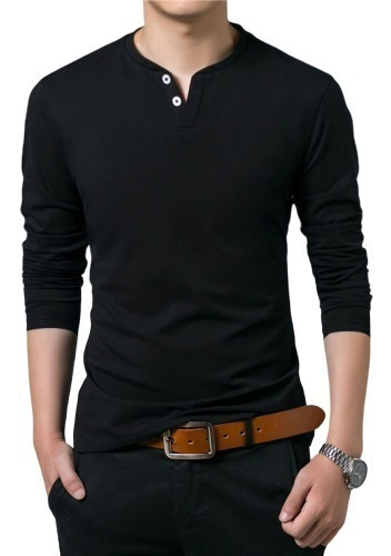 kit com 3 camiseta henley slim fit 2 botões - frete grátis