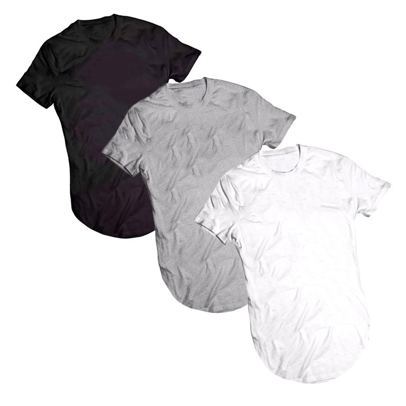 914270398 Kit Com 3 Camiseta Longline Lisa Unissex 100% Algodão Casual - R  99 ...