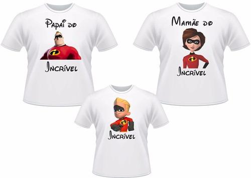 kit com 3 camisetas para festa ( pai - mãe - filho(a))