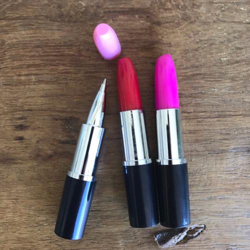 kit com 3 canetas batom esferográfica maquiagem