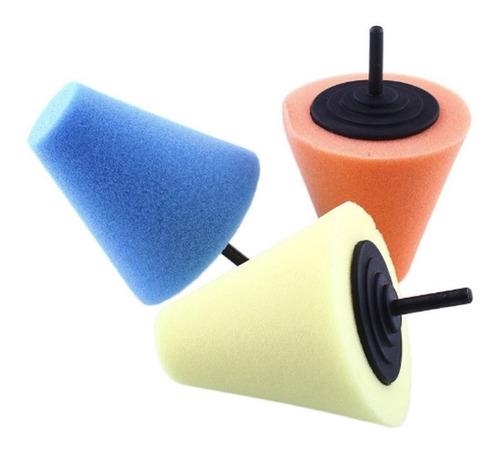 kit com 3 cone de espuma boina polimento em rodas 3 cores