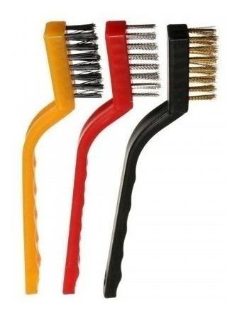 kit com 3 escovas de aço latão nylon p/ limpeza remoção