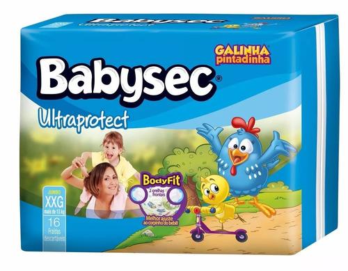 kit com 3 fraldas babysec galinha pintadinha ultrasec p