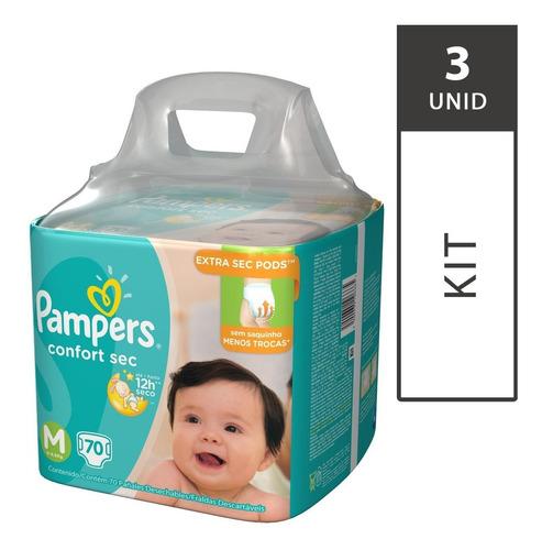 kit com 3 fraldas pampers confort sec m super pack - 210