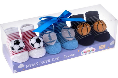 kit com 3 meias pimpolho bebê menino rn esportes