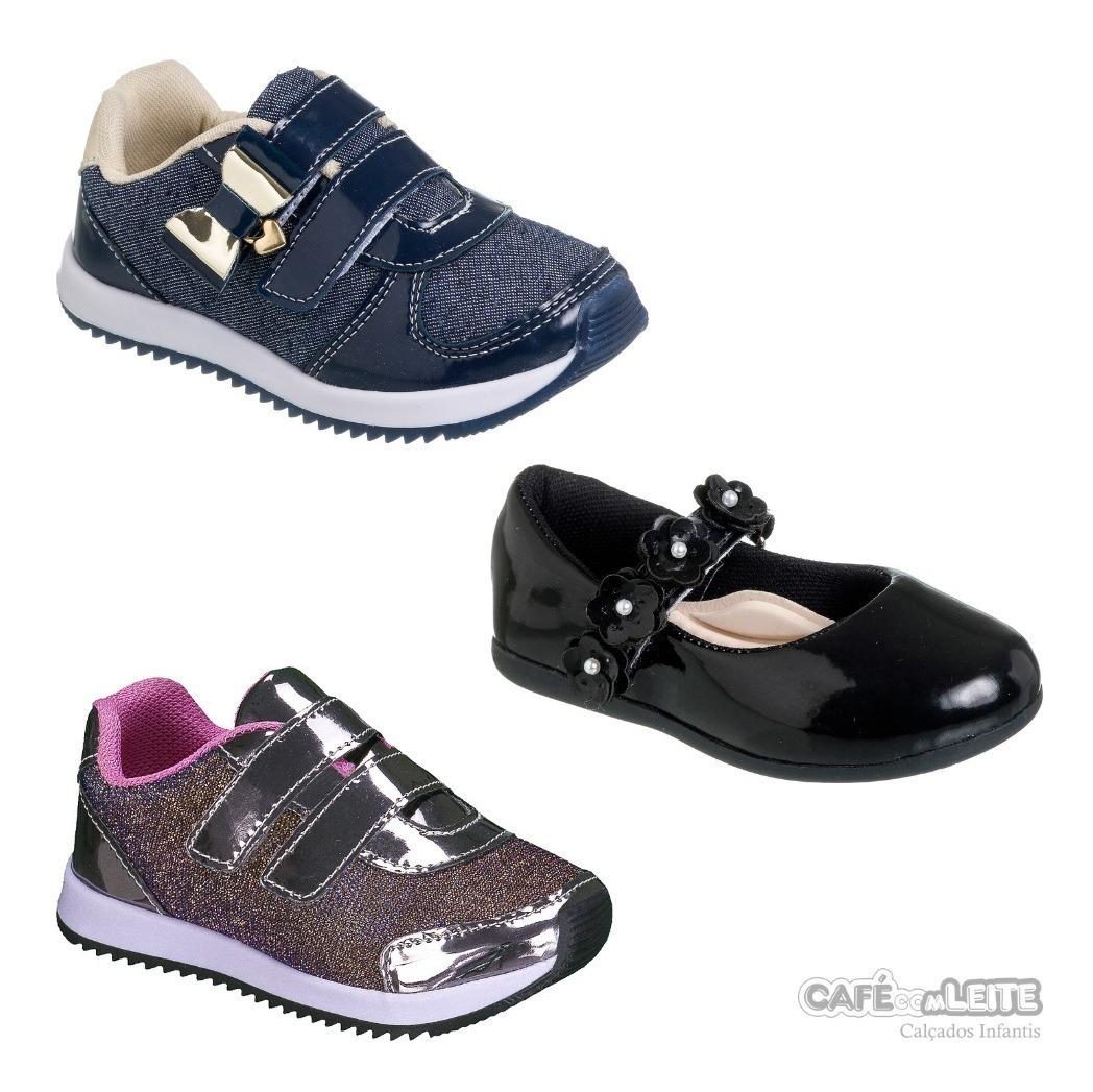 09922c2f2 Kit Com 3 Pares Calçados Infantil Feminina Menina - R$ 139,90 em Mercado  Livre
