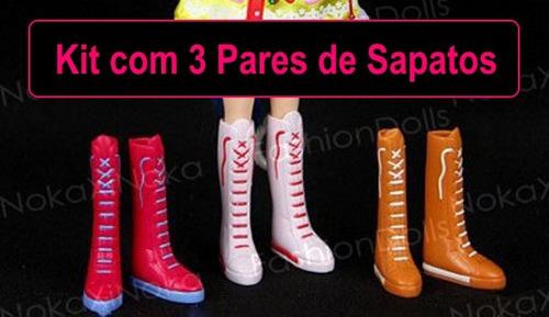 kit com 3 pares de sapatos para blythe * pullip * sapatinho