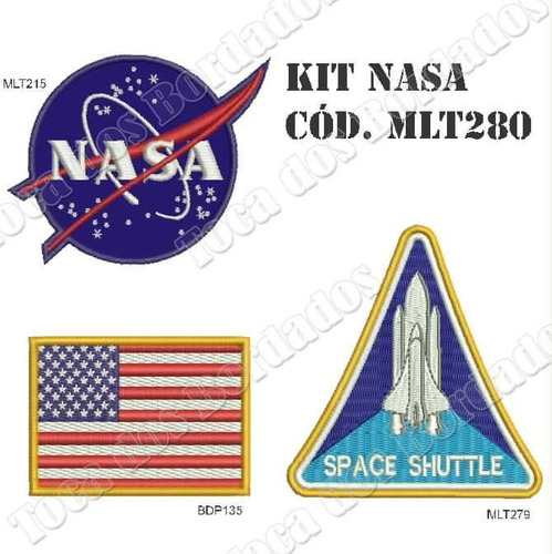 kit com 3 patch bordado nasa mlt280 = logo + bandeira + nave