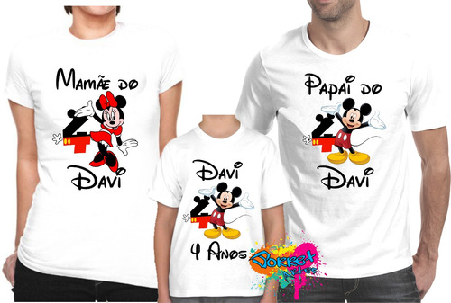 kit com 3 peças camisa / camiseta  personalizada mickey  a3