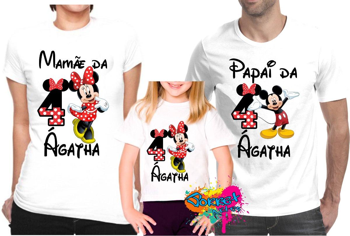 2586e08ef Kit Com 3 Peças Camisa Personalizada Mickey E Minnie A4 - R  74