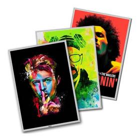 Kit Com 3 Posteres Quadro Placa Decorativa Bandas De Rock A2