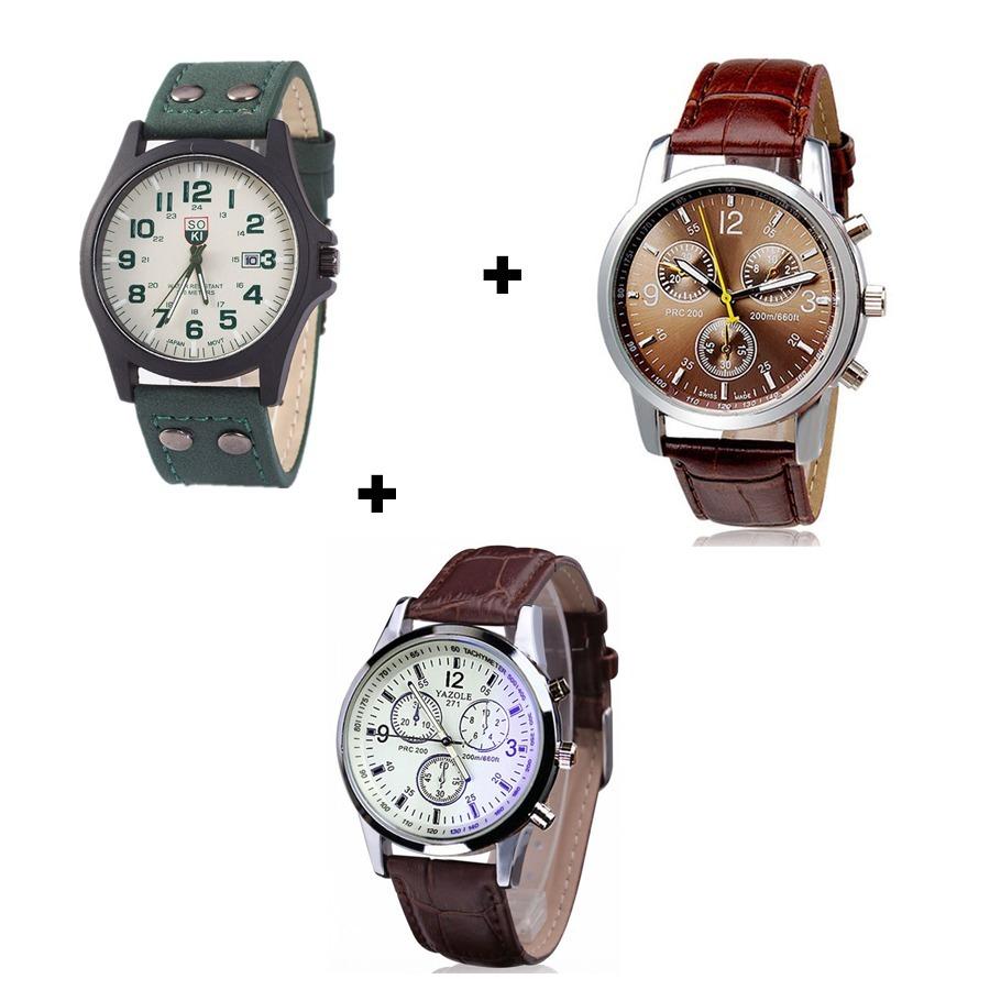 Kit Com 3 Relógios Masculinos Esportivos Preço De Revenda - R  120 ... 60ab23099a