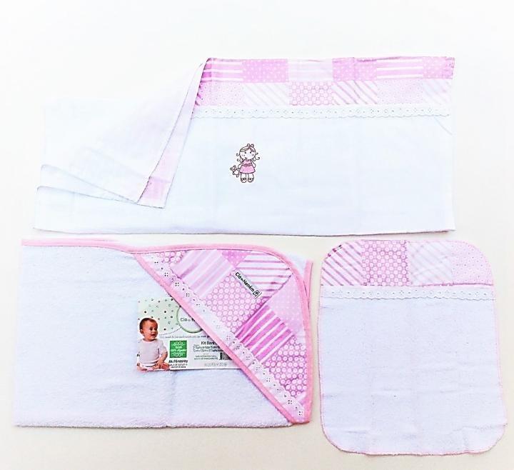 7a6990cf125f8e Kit Com 3 Toalhas 100% Algodão Para Banho Cia Do Neném Rosa
