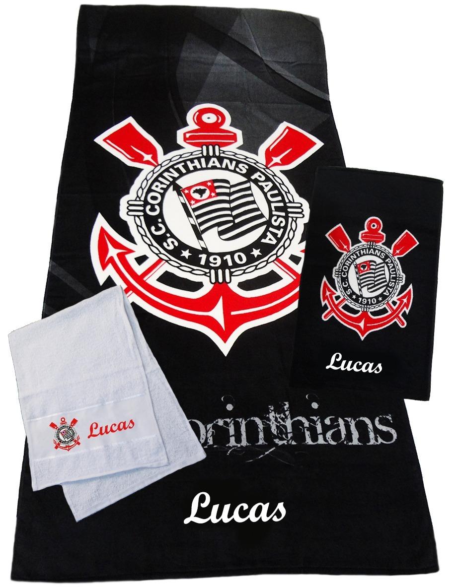 Kit Com 3 Toalhas Do Corinthians Com O Nome Desejado! - R  72 a61b40010f207