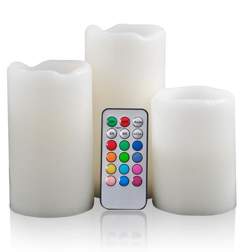 kit com 3 velas led multicor com controle remoto em parafina