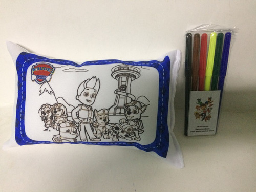 kit com 35 almofadas laváveis para colorir patrulha canina