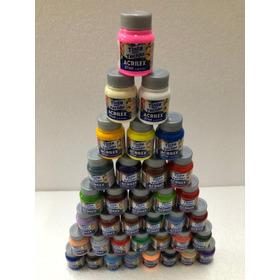 Kit Com 36 Tintas Tecido 37ml Cores Fosca Acrilex