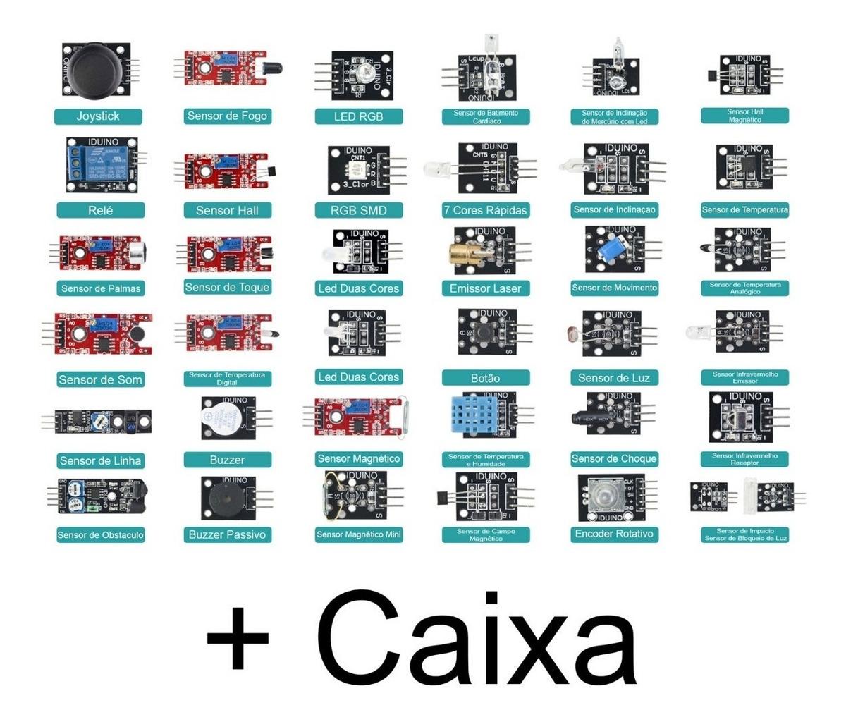 Kit Com 37 Módulos E Sensores Caixa Para Arduino Raspberry