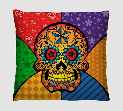 kit com 4 almofadas decorativas caveiras, caveira mexicana