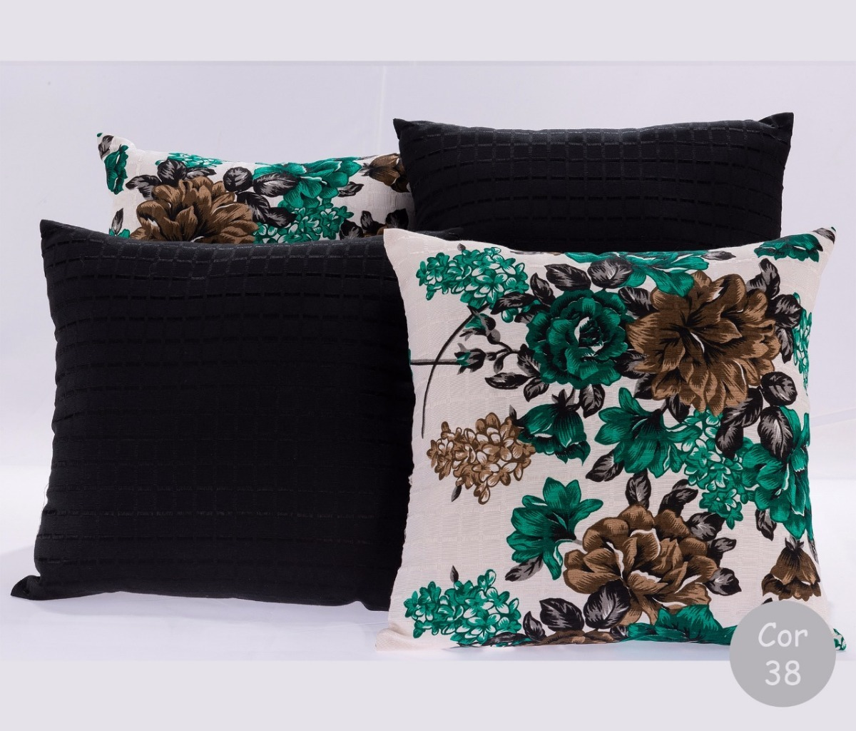 8ee17f7dc8 Kit Com 4 Almofadas Estampadas Decorativas Tecido Jacquard - R  45 ...