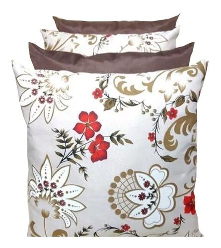 kit com 4  almofadas lisa e estampada para sofá
