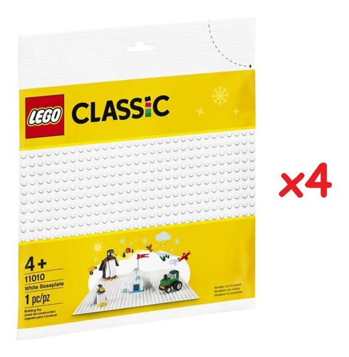 kit com 4 bases lego branca - lego classic