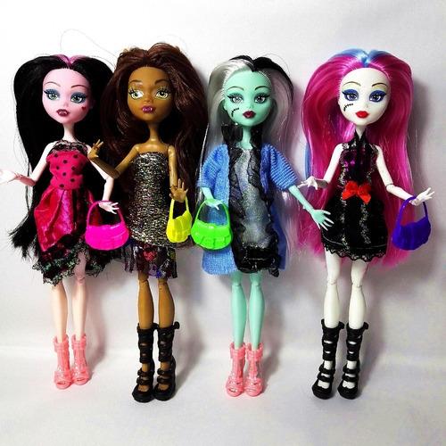 kit com 4 bonecas monster high articuláveis frete grátis