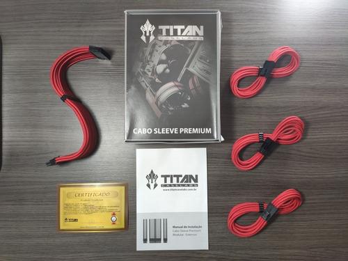 kit com 4 cabos sleeve titan caselabs premium - full red