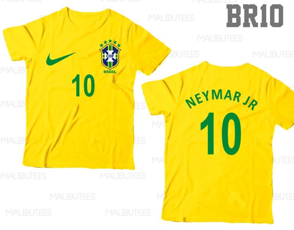f777548e3 Kit Com 4 Camisetas Seleção Brasil Personalizadas Nome Br10 - R  179 ...