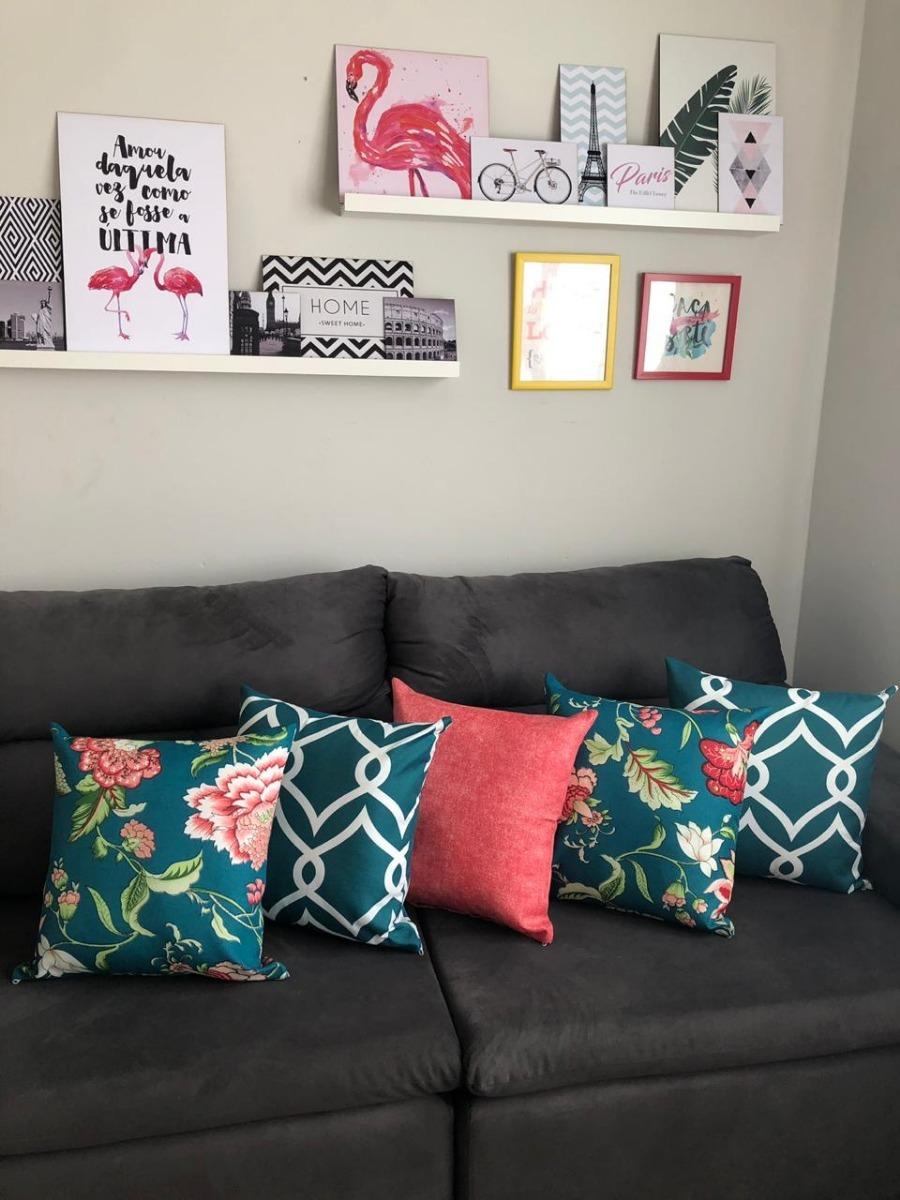22456a422 kit com 4 capas de almofadas decorativas lisas e estampadas. Carregando zoom .