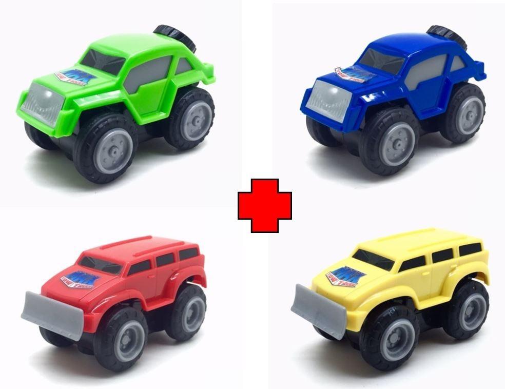 Kit Com 4 Carrinhos Mini Max Tow Truck Fricção Sobe Em Metal R