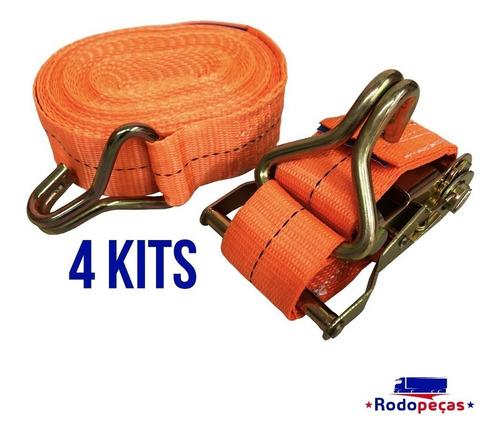 kit com 4 catraca + 4 cinta amarração 1,5 t 9 metros rabicho