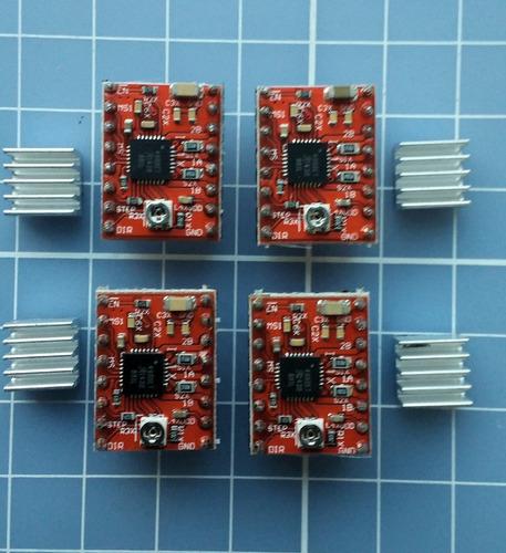 kit com 4 drivers a4988 com dissipador de calor - reprap