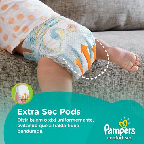 kit com 4 fraldas pampers confort sec mega