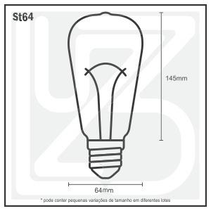 kit com 4 lampadas filamento retro vintage st64 ambar 220v