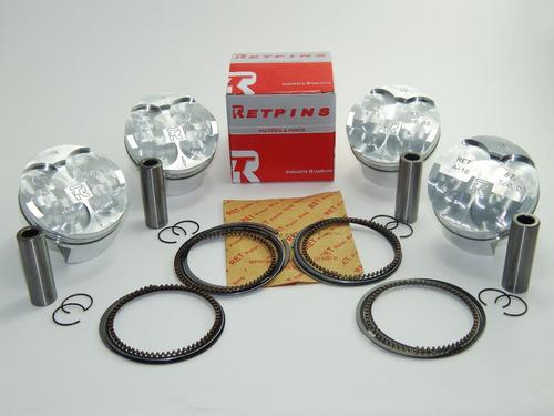 kit com 4 pistão e anéis ret std hornet 600 2008 até 2012